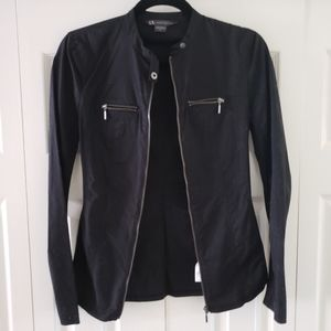 A/X Black Zippered Fitted Jacket Tab Collar Small